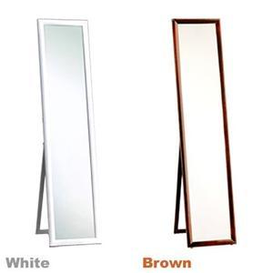 鏡面仕上げ木製スタンドミラー ホワイト - 拡大画像