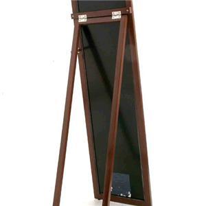 鏡面仕上げ木製スタンドミラー レッド