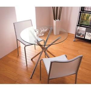ガラスラウンドテーブル&チェアー3点セット ホワイト - 拡大画像