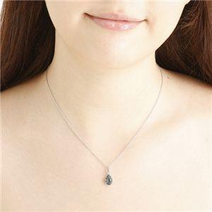 天然石 大粒雫カットペンダント ブルーフローライト チェーン長さ40cm h02