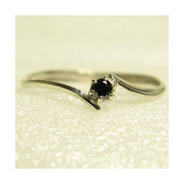 ピンキーにも使えるブラックダイヤリング 指輪 ホワイト 3号f00