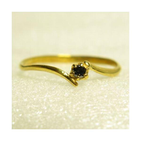 ピンキーにも使えるブラックダイヤリング 指輪 イエロー 3号f00