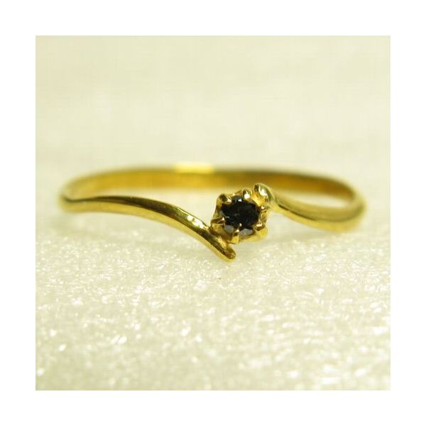 ピンキーにも使えるブラックダイヤリング 指輪 イエロー 5号f00