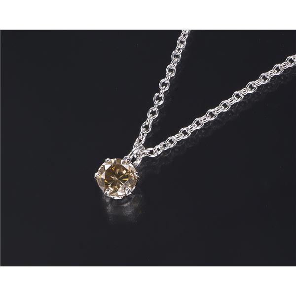 プラチナ ライトブラウンダイヤモンドペンダント/ネックレス0.2ct(シルバーチェーン)f00