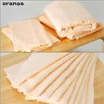 ふんわりやわらか無撚糸タオルセット バスタオル2枚&フェイスタオル2枚オレンジ