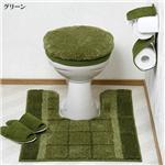 ボリュームたっぷりトイレフタカバー&足元マットセット グリーン洗浄型