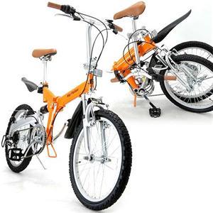 20インチ アルミフレーム 折りたたみ自転車 M-73 オレンジ・ポリッシュ - 拡大画像