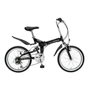 【送料無料】 MYPALLAS(マイパラス) 折り畳み自転車 M-207 20インチ 6段変速 Wサス ブラック 【マウンテンバイク】