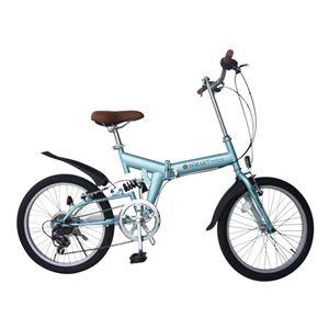 折り畳み自転車 20インチ 6段変速 リアサス 540×1480×1030 ライトブルー - 拡大画像