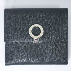 BVLGARI(ブルガリ) #23277 Woman wallet 2 folds with clip Grain leather black/P. - 拡大画像