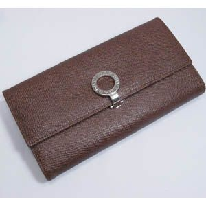 BVLGARI(ブルガリ) #23302 Woman wallet 8 CC with internal zip and clip Grain leather dark brown/P. - 拡大画像
