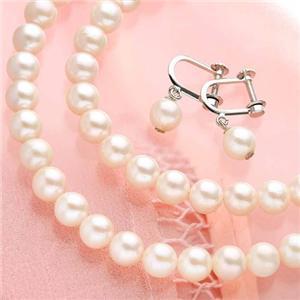 本真珠セット(真珠ネックレス2点、ぶら下がりイヤリング)
