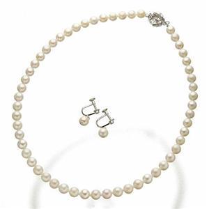 【送料無料】あこや真珠パールネックレス 6.5-7mm パールイヤリング・専用ケース・鑑別書付