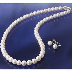 花珠真珠(あこや真珠) パールネックレス&パールイヤリング 7〜7.5mm玉  - 拡大画像