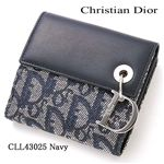 Christian Dior(クリスチャンディオール) Wホック財布 CLL43025 ネイビー