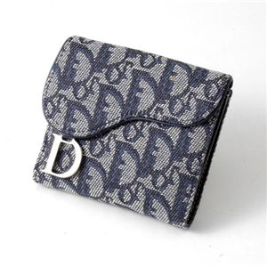 Christian Dior トロッター ダブルホック財布 SLO43025 B3A3・Blue×Argent - 拡大画像