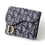 Christian Dior トロッター ダブルホック財布 SLO43025 B3・Blue×Oro【送料無料】