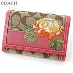 COACH(コーチ) 折り財布 シグネチャーストライプ フローラル コンパクト クラッチ 41416