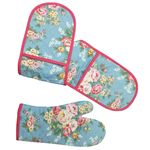 Cath kidston(キャスキッドソン) Double Oven Glove&Oven Mittセット CandyFlowers/Blue