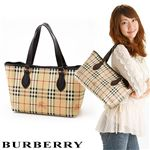 BURBERRY(バーバリー) クラシックチェックトートバッグ LL SM NICKIE ベージュ×チョコレート【送料無料】