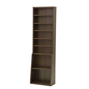 本棚/書棚60 ハイタイプ スリム 幅60cm×奥行29.5cm×高さ200cm 可動棚3枚/固定棚4枚付き ブラウン - 拡大画像