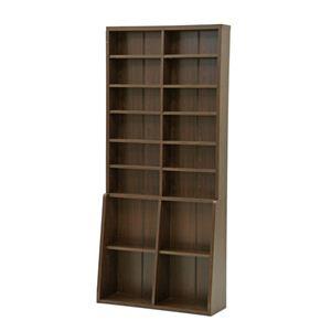 本棚/書棚90 ハイタイプ 幅90cm×奥行29.5cm×高さ200cm 可動棚8枚/固定棚6枚付き ブラウン - 拡大画像
