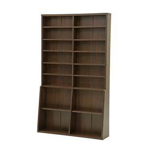 本棚/書棚120 ハイタイプ 幅120cm×奥行29.5cm×高さ200cm 可動棚8枚/固定棚6枚付き ブラウン - 拡大画像