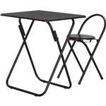 折りたたみ式テーブル&チェアーセット テーブル/幅70cm×奥行50cm ブラック(黒)&ブラウン の画像