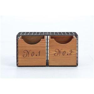 ジャンクインテリア部屋作りに ワイヤー木製ラック2段 スチール/木製 引き出し収納BOX付き BR ブラウン 【完成品】