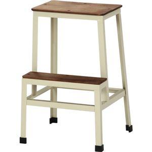 踏み台/ステップスツール スチール/木製(天然木) 高さ54cm アンティーク調 IV アイボリー - 拡大画像