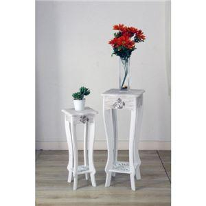 フラワースタンド2点セット/花台 【ラフィネ】 木製 アンティーク調 (インテリア家具) 【完成品】 の画像