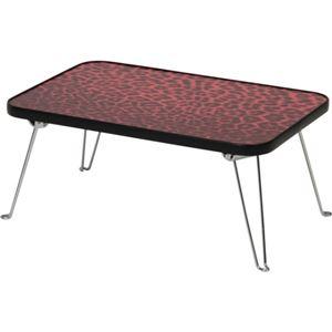 折りたたみ式カラーミニテーブル(サイドテーブル) 4530 【ヒョウ柄】 長方形 高さ19cm ピンク - 拡大画像