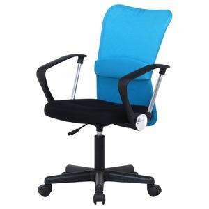 デスクチェア(椅子)/メッシュバックチェアー ハンター ガス圧昇降機能/肘掛け/キャスター付き BL ブルー(青) - 拡大画像