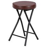 折りたたみ椅子/スツール(フォールディングチェアー) 丸型 BK/BR ブラック(黒)&ブラウン の画像