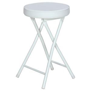 折りたたみ椅子/スツール(フォールディングチェアー) 丸型 WH ホワイト(白)