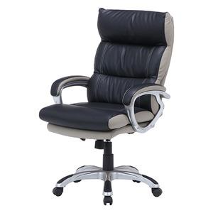 コイルスプリングデスクチェア(椅子) 昇降機能付き 【マリーノ】 肘掛け/キャスター付き BK ブラック(黒)【組立品】 - 拡大画像