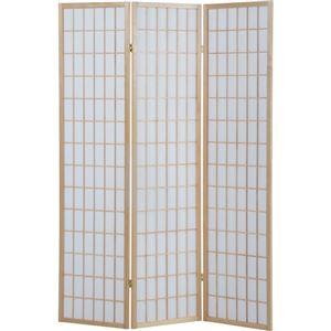 パーテーション/3折障子スクリーン 3連 高さ180cm 木製/不織布 180CM NA ナチュラル