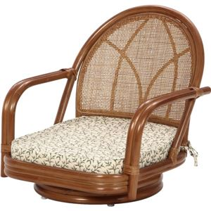 回転座椅子/ローチェア 木製(籐) 肘掛け付き 座面高さ15cm アジアンテイスト NCS-01LB 【完成品】 - 拡大画像
