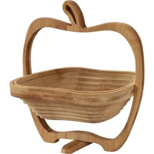 竹製 フルーツ・りんごバスケット/かご 【Sサイズ】 幅21cm×奥行17cm×高さ23cm 木製 ポータブル 〔キッチン 台所〕