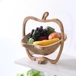 竹製 フルーツ・りんごバスケット/かご 【Mサイズ】 幅26.5×奥行22×高さ30cm 木製 ポータブル 〔キッチン 台所〕 の画像