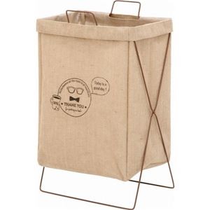 ランドリーバスケット/洗濯物ボックス 【麻】 幅37cm 横型取手付き 麻100% 〔バスルーム 脱衣所 リビング〕