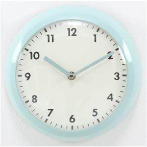 北欧風 レトロクロック/時計 【ブルー】 幅23.5cm スチール・ガラス製 〔リビング ダイニング〕