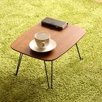 北欧風 折れ脚ローテーブル/サイドテーブル 【マイルドブラウン】 幅40cm 折りたたみ 『トロン』 の画像