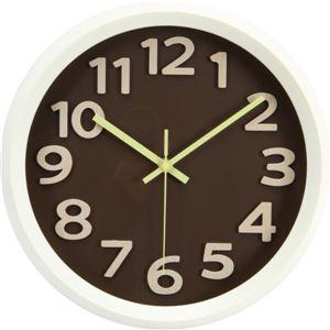 北欧風 ウォールクロック/時計 【幅31cm ブラウン×アイボリー】 プラスチックフレーム ガラスカバー