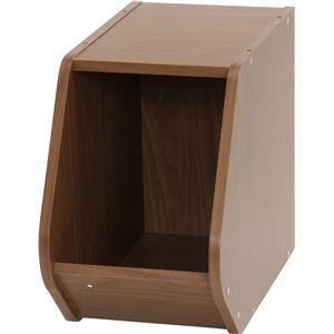 木目調 ブロックボックス/カラーボックス 【ブラウン】 幅20cm×奥行38.8cm×高さ30.5cm 『Klotz』