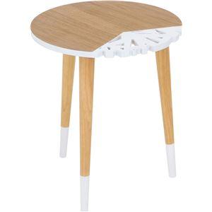 北欧風 サイドテーブル/ローテーブル 【幅40cm ホワイト/ナチュラル】 木製 『バード』 〔リビング〕