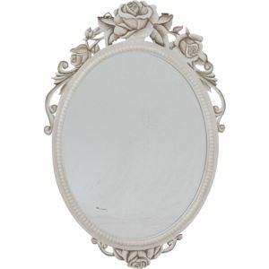 アンティーク調 ウォールミラー/姿見鏡 【ラウンド 幅41.5cm】 楕円型 木製 『ラフィネ』