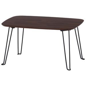 北欧風 折れ脚ローテーブル/サイドテーブル 【幅60cm ダークブラウン】 折りたたみ 『トロン』