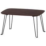 北欧風 折れ脚ローテーブル/サイドテーブル 【幅60cm ダークブラウン】 折りたたみ 『トロン』 の画像