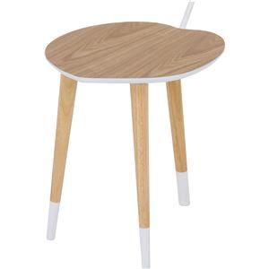 北欧風 サイドテーブル/ローテーブル 【ホワイト/ナチュラル】 幅40cm 木製 『アップル』 〔リビング〕